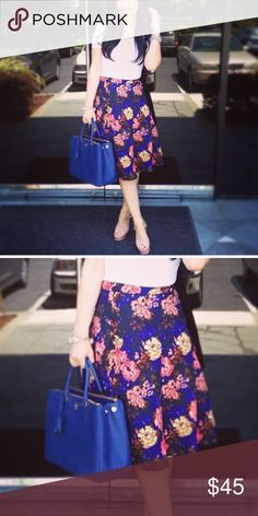 Floral Print Skirt Nordstrom brand super cute and great for summer. Love the colors. Worn once Skirts A-Line or Full