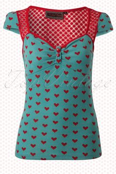 Vixen - Blue Belle Vintage Top with Hearts