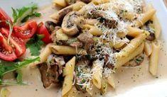 Pasta med oxfile, svamp, grädde, parmesan,vitlök och lök. Detta är en vinvänlig rätt så vilket vin som helst passar till.