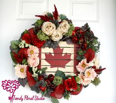 Gorgeous Canada Day Patriotic Floral Wreath Rose Gerbera Daisy Full Covered Bright Handmade Designer Canada Flag Bright Wreath Ready to Ship by TrendyFloralStudio on Etsy