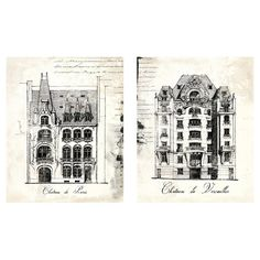 Create a chic home gallery with this lovely canvas print, showcasing an ornate French chateau with script detail.     Product: ...