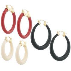 qvc Joan Rivers Goldtone Set of 3 Spectator Hoop Earrings #JoanRivers #Hoop