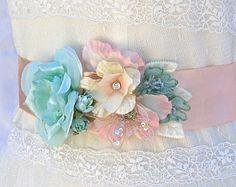 Bridal Sash-Wedding Sash In Vintage Pink Mint by AGoddessDivine