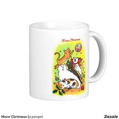 Meow Christmas Classic White Coffee Mug. A cute cartoon drawing of cats playing with Christmas ornaments. There are white angora cat,   calico cat, orange ginger tabby kitten, siamese cat and a black cat. Catcartoon #cutekitty #Christmascats #Christmaskitty #whiteangoracat #calicocat #orangegingertabbycat #siamesecat #blackcat #funnycats