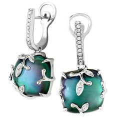 Frederic Sage Blue Topaz Over Black Mother of Pearl Earrings  #fredericsage