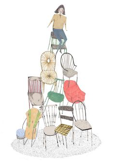 """Chair Tower illustration by Amyisla McCombie. (Makes me think of """"Poltergeist"""" -- that's Jobeth Williams sitting up there.)"""