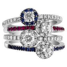 Check out our Firework of rubies, sapphires and diamonds ct) button ring in white gold. in our Ring selection today! Diamond Flower, Gold Diamond Rings, Sapphire Diamond, Fireworks, Sons, Diamonds, White Gold, Engagement Rings, Jewels