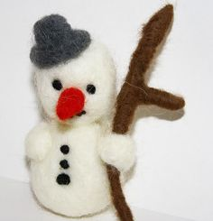 sweet Snowman needle felted miniature Christmas small  by nutkaart