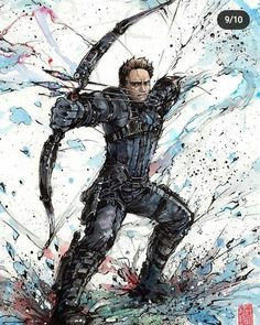 Here's a recent one I did of Hawkeye! No matter how many superpowers we see and the range of guns/magic we have in video games, there's always something. Hawkeye in action Watercolor and Sumi ink Loki, Samurai, Deadpool, Hawkeye Avengers, Hiccup And Toothless, Drawing Sketches, Drawings, Digital Art Gallery, People