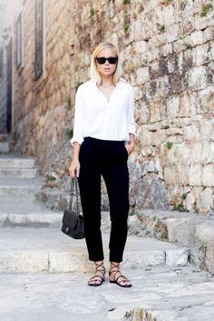 White blouse, black trousers, black sandals