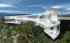 Mahina House (Maori name for the Moon) was designed in the form of a crescent moon that was built on Kawau Island, about 60km north of Auckland, New Zealand.