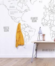 Mini Travelers Worldmap - Behang | Gras onder je voeten