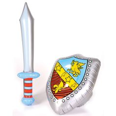 ** INFLATABLE SWORD /& SHIELD SILVER LION KNIGHT NEW ** KIDS PARTY FANCY DRESS