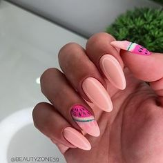 This design is so fresh, acrylic nail art, this watermelon nails are for you! fruity and summery! it will literally make your mouth water, you'll want to Nail Design Stiletto, Nail Design Glitter, Cute Acrylic Nail Designs, Cute Acrylic Nails, Cute Nails, Gel Manicure Nails, Sea Nails, Nail Polishes, Nails Studio