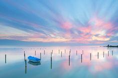An epic sunset over lake IJsselmeer near Stavoren in the Netherlands.