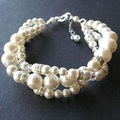 Modern Vintage Bridal Bracelet Twisted Pearl Wedding por luxedeluxe