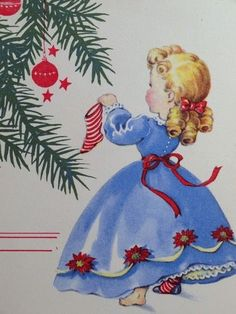 Unused 40s Using Her Sock as An Ornament Vintage Christmas Card 1142 | eBay by sandy.manzone