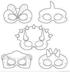 Patrón o molde de máscaras de dinosaurios para hacer con goma eva