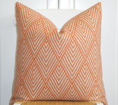 Decorative Pillow Cover - 20 x 20 - Accent Pillow - Throw Pillow - Orange - Brown -  Sofa Pillow - Trellis Pillow - Lattice - Geometric