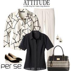 Carlisle   Per Se - Summer 2015: CANOLI ivory and black print blouse, BRULEE ivory pant, KARMA black blouse.