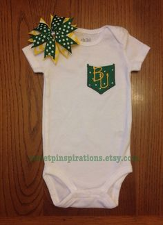 Cute Baylor Bears Inspired Preppy Pocket Bodysuit. This Baylor onesie can be made with or without the matching hairbow...perfect for a girl or boy.