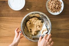 In a large mixing bowl, combine the cream cheese and peanut butter and mix until smooth. | This No-Cook Peanut Butter Dip Is The Ultimate Game Day Dessert