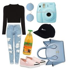 """"""""""" by sasou-metayer ❤ liked on Polyvore featuring Topshop, Miu Miu, Sunday Somewhere, NIKE and roadtrip"""