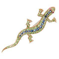 Antique Demantoid Garnet & Sapphire Lizard Brooch | 1stdibs.com