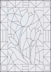 Malvorlage Flowers - stained glass creative, Ca Stained Glass Patterns Free, Stained Glass Quilt, Stained Glass Designs, Art Drawings For Kids, Easy Drawings, Art For Kids, Glass Painting Designs, Paint Designs, Spring Art