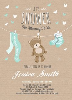 Baby Shower Teddy Bear Invitation Baby Mint Green ♥ A cute and fun baby shower invite for your little one on it's way! Baby Shower Oso, Teddy Bear Baby Shower, Imprimibles Baby Shower, Baby Shower Invitaciones, Rustic Invitations, Baby Invitations, Invitation Ideas, Shower Invitation, Mint Green