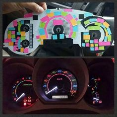 FYI, You Can Use Post-It Notes to Color Your Dashboard Lights First car decor decoration girly fun A Vw Minibus, Jimny Suzuki, Cute Car Accessories, Car Interior Accessories, Car Dashboard Accessories, 4runner Accessories, Vehicle Accessories, Girly Car, Car Essentials