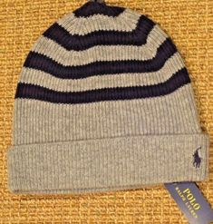 9c098c285fbb6 Polo ralph lauren men s wool cashmere beanie hat skull cap gray blue new