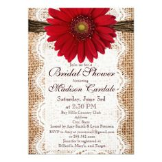 Red Gerber Daisy Burlap Look Country Bridal Shower Invitations
