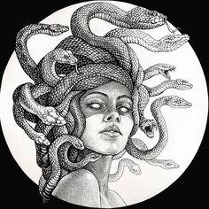Cute Tattoos, Body Art Tattoos, Sleeve Tattoos, Black Tattoos, Tatoos, Tattoo Sketches, Tattoo Drawings, Art Drawings, Medusa Tattoo Design