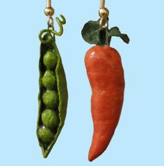 Peas & Carrots Hand-Painted Paper Earrings