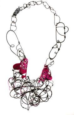 "Necklace   LARITZA GARCIA-USA- ""Rosa Fuschia"" necklace - Tinkered series Steel, Copper, Sterling Silver, Powder Coat"