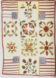 Civil War Quilts.  What to do when you don't have enough appliqué blocks to make the quilt fit a bed.  Haha.  Love this!