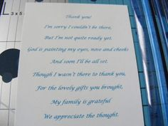 What a sweet poem for baby shower thank you cards