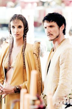Indira Varma as Ellaria Sand and Pedro Pascal as Oberyn Martell in Game of Thrones