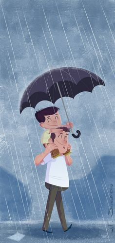 Dad and son in the rain... by jfsouzatoons on DeviantArt