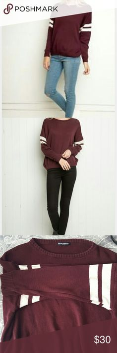 Brandy Jersey Sweater Maroon with white stripes. Says one size fits all but more like a s/m Brandy Melville Tops