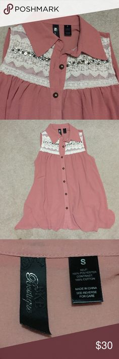 Dusty Pink Collared Tank with Lace & Jewel Accents Super cute NWOT tank from Buckle! Dusty pink colored and very flowey. Has a collar, lace accents at the shoulder, and jewels. All intact. Buckle Tops Tank Tops