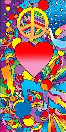 Peace Love Music Psychedelic Pop Art by Howie Green Hippie Peace, Hippie Love, Hippie Art, 60s Art, Retro Art, Arte Hippy, Peter Max Art, Wallpapers En Hd, Retro Kunst