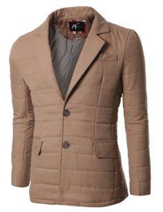 Doublju Mens 2 Button Padded Blazer Jacket