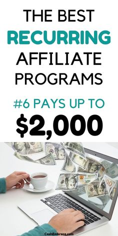 The best recurring affiliate programs for bloggers: make up to $2,000 per affiliate sale. The affiliate programs paying recurring commissions are the best way to make money blogging. They are a source of passive income. Make money while you sleep with these high-paying affiliate programs.#recurringaffiliateprograms#affiliateprogramsforbloggers#makemoneyblogging#passiveincome Online Income, Earn Money Online, Make Money Blogging, Way To Make Money, Passive Income Streams, Blogging For Beginners, Extra Money, Affiliate Marketing, Programming