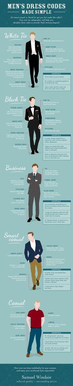 Infographic: A Guide To Dress Codes For Men, From Smart Casual To Black Tie - DesignTAXI.com