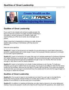 Qualities of Great Leadership Document Sharing, Wealth, Leadership