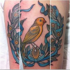 Neotraditional canary with laurels by Angie Fey at Archive Tattoo; Toronto, Ontario.