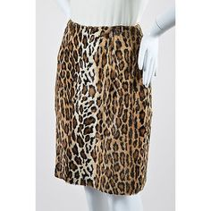 Pre-Owned Oscar by Oscar De La Renta Tan Brown Cotton Faux Fur Leopard... ($85) ❤ liked on Polyvore featuring skirts, multi, straight pencil skirt, print skirt, print pencil skirt, cotton skirts and brown pencil skirt