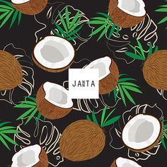 Seamless pattern whole coconut and piece with monstera leaves on black background, Vector illustration Textile Patterns, Print Patterns, Royal Clan, Monstera Leaves, Fabric Printing, Coconut Shell, Surface Pattern, Black Backgrounds, Summer Vibes